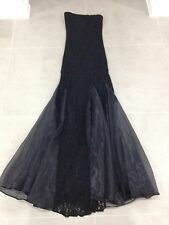 Stunning Long Black Dress - Slim Fit Lace Dress - Size 8-10