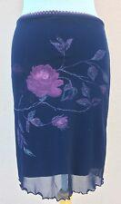 Danza Skirt Straight Pencil Flower Dark Blue S