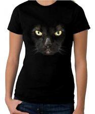 BLACK CAT WOMEN'S HALLOWEEN T-SHIRT - Fancy Dress Trick Or Treat Costume Witch