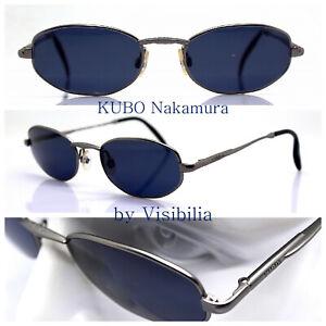 Kubo Nakamura Sunglasses Men Octagonal Oval Gunmetal Blue Vintage 90s