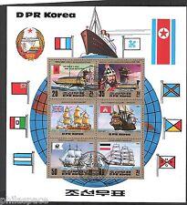 KOREA (713) GROßBLOCK  SCHIFFE WICKINGER WAPPEN FAHNEN GESTEMPELT