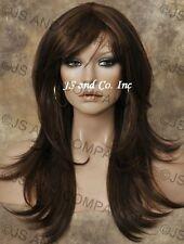 HUMAN HAIR Blend wig Long Straight Brown Auburn Flip ends WBMS 4-30