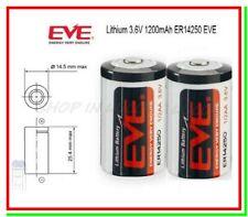2 Batterie Pile EVE 14250 3,6V Li-SoCl2 1/2 AA Mezza Stilo 1200mAh Cmos Gps Dagr