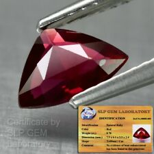Rare! 0.78ct Trilliant Natural Unheated Untreated Red Ruby *Free Certified