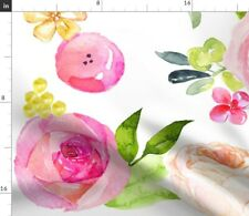 Watercolor Floral Large Print Flowers Big Pink Fabric Printed by Spoonflower BTY