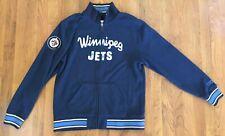 CCM Pro OK'd Winnipeg Jets Distressed Blue Full Zip Jacket/Sweater-Large-NWOT
