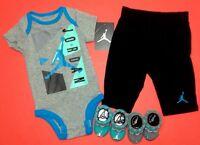 Air JORDAN BABY BOYS 4-Pc GIFT Set: Romper, Pants & Booties. Multi-color, 0-6 M.