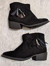 Toddler Girls SONOMA CRIKETT Black Faux Suede Tassel Western Dress Boots Size 12