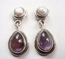 Amethyst Cultured Pearl 925 Sterling Silver Stud Earrings w/ Grooved Accents