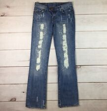 $219 Seven 7 For All Mankind 26 Rhinestone Distressed Studded Flare Jeans 7FAM