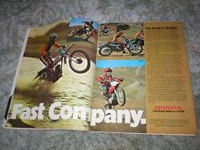 1974 HONDA Cycle ad: ELSINORE CR-125M, CR-250M, MR-50, MT-125 MT-250  2 pgs