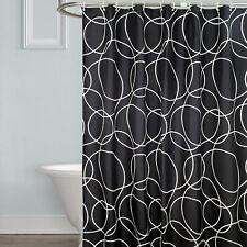 Shower Curtain Set Hooks Rings Plain Geometric Washable Hotel Bathroom 180x180cm