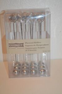 Celebrate It Place Card Holders Chrome Ball with Tall Holder Set 12 -New