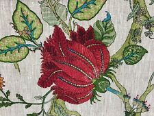 Bukhara Exotic Floral 100% Linen Jungle Fabric in Ruby   Curtains/Upholstery