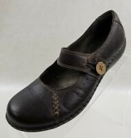 Clarks Bendables Mary Jane Flats Brown Leather Slip On Womens Shoes Size 7.5M