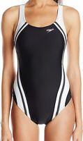 Speedo Womens Swiwmear White Black 4 Quantum Splice Powerflex Swimsuit $78- 765