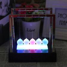 Newtons Cradle Fun Glass Balance Balls Physics Science Desk Toy LED Light Gifts