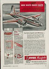 Lot of 3 1945 Ryan Aeronautical Ads Airplane Aircraft Manifolds Parts Aviation