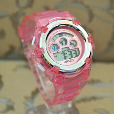 OHSEN 7 color Digital Pink Rubber LED light Date Day Alarm Sports Wrist Watches