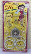 Betty Boop carded Jewelry Set 1983 Silver bangle ring pendant chain plastic toy