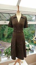 Stunning KAREN MILLEN Khaki dark Green/brown fit & flare belted dress size 12