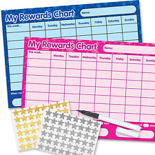 Reward Chart including FREE Pen & Stickers pink/ and blue twin pack