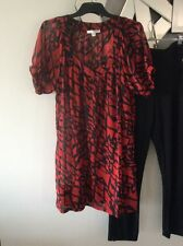 MINKPINK Sheer Lightweight Black Red Short Sleeve Tunic Dress Top Blouse 10