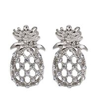 Hawaiian Pineapple Earrings Crystal Rhinestone Stud Luau Beach QUALITY USA
