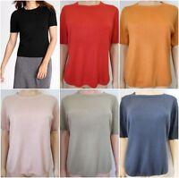New Ex M&S Ladies Short Sleeved Crew Neck Jumper Size 8-22 Black Pink Red Orange