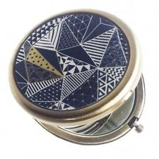 Blue Geometric Pattern Navy And Gold Compact Mirror