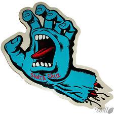 "SANTA CRUZ ""Screaming Hand"" Skateboard Snowboard Sticker Decal 8.5cm 3inch BLUE"