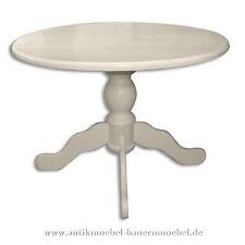 Esstisch,Küchentisch,Wohnzimmer-Tisch,Weichholz,Landhausstil,Rund,weiß