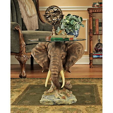 African Plains Animal Trophy Pachyderm Elephant Glass Top Side Occasional Table