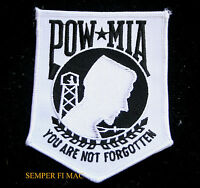 """L 4"""" POW MIA EMBROIDERED PATCH US ARMY NAVY AIR FORCE MARINES USCG PIN USS FMF"""