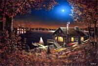 Evening Serenity Cabin Lake Print By Jim Hansel  12 x 7.75