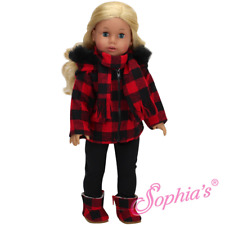 "DOLL CLOTHES - Coat Outfit  Buffalo Plaid fits  AMERICAN GIRL AND MOST 18"" DOLLS"
