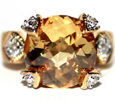 8.5 ct 14K Yellow Gold Plated Cocktail Champagne Topaz Cz Chateau Ring Size 10