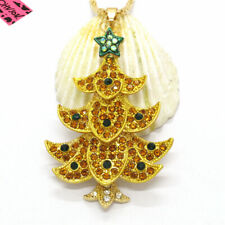 New Yellow Crystal Christmas Tree Star Betsey Johnson Pendant Sweater Necklace