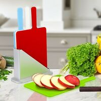Mini 5pc Cutting Chopping Slicing Symbol Colour Coded 4 Boards With Stand Holder