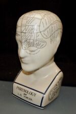 """Phrenology Fortune Telling Head Psychic Bust Cranium By Fowler Porcelain 9 1/2"""""""