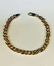 "10kt Solid Yellow Gold Handmade Curb Link Mens Bracelet 9.5"" 24 Grams 7MM"