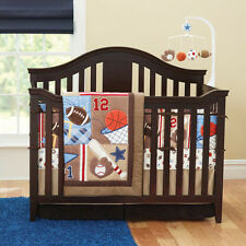 New 7 Piece Sports Balls Boy Baby Nursery Crib Bedding Set Quilt Bumper Sheet