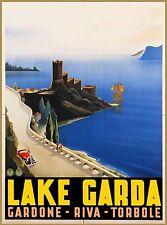 Lake Garda Gardone Italy Italian Europe Vintage Travel Advertisement Poster