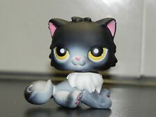 LPS Littlest Pet Shop Cat #435 black & white Persian Cat kitten yellow eyes rare