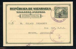 Nicaragua Postal Stationery PC - H&G #87 1930 Uprated MANAGUA - AUSTRALIA $$$