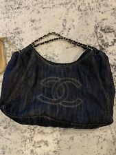 Chanel Demin Cabas Tote Bag With Pouch Authentic Handbag