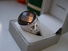 SUPERB CHUNKY OVERSIZED 925 STERLING SILVER SMOKY QUARTZ WHITE TOPAZ RING SIZE T