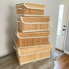 Dwell Studio 4 Natural Bamboo Storage Stackable Nesting Organizer Baskets Boxes