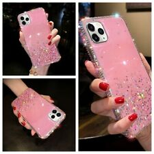 For iPhone 12 11 Pro Xs MAX XR 7 8 Epoxy Glitter Sparkle Side Diamond Case Cover