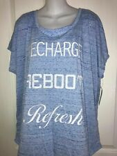 "NWT Style & Co Sport Blue Knit Top T-Shirt Size 2X ""Recharge. Reboot. Refresh"""